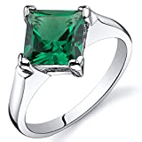 Peora Striking 1.50 carats Simulated Emerald Ring in Sterling Silver Size 7