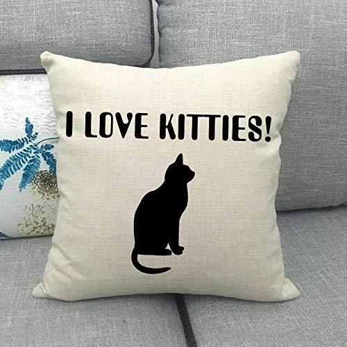LPLH Gato Gato Lindo Animal doméstico Lino Abrazo Funda de Almohada Almohada Abrazo Funda de Almohada -1_45 * 45cm