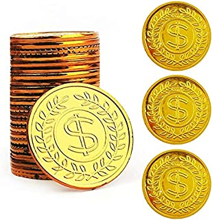 TCOTBE Pirate Gold Coins Plastic Set of 100,Play Gold Treasure Coins for Play Favor Party Supplies, Pirate Party, Treasure...
