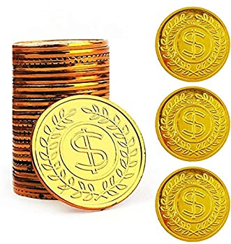 TCOTBE Pirate Gold Coins Plastic Set of 100,Play Gold Treasure Coins for Play Favor Party Supplies Pirate Party Treasure Hunt Game and Party Favors