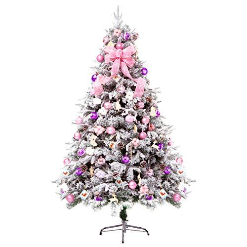 Arbre De Noël De 1.8 M/5.9 Ft A Afflué Pour Intérieur Extérieur, Avec Les Décorations Blanches Roses, Lumières De LED, Artificiels Et Respectueux De L'environnement