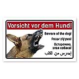 Vorsicht Hund Schild 5-sprachig 25x15cm Schäferhund thumbnail