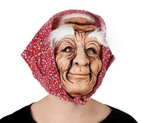 Masque de vieille femme ridée en PVC - Adulte : Standard - Taille unique