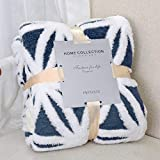 LOMAO Sherpa Fleece Blanket Fuzzy Soft Throw Blanket Dual Sided Blanket for Couch Sofa Bed (Navy, 51'x63')