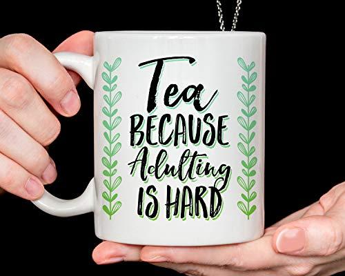 Promini Funny Mug Coffee Mug Tea Because Adulting Is Hard Mug Tea Cup Tea Mug Best Gifts 15oz White Mug