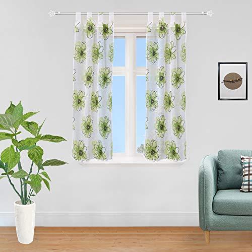 GIRASOLE HOME Coppia Tendine semitrasparenti con Fiori Stampati 1 Telo 2 Pannelli 70x150cm con Passanti (Verde, 70_x_150cm)
