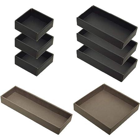 yamapac 引き出しキレイ 整理トレイ SHIKI® 組み合わせ8個セット (ブラック×トープ)