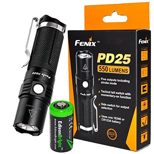 EdisonBright Fenix PD25 550 Lumen CREE XP-L V5 LED Tactical EDC Flashlight with Holster, Clip CR123A Lithium Battery Bundle