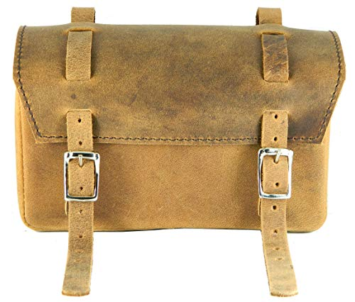 Herte - Bolsa de piel para sillín de bicicleta, hecha a mano, estilo vintage, color marrón