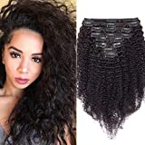 40cm - Extensiones de Clip Pelo Natural Rizado Negro Intenso 115g Kinky Curly Clip in Hair Extensions 8 Piezas 18 Clips Cabello Natural Afro Trenza