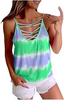 Sunhusing Women's Sleeveless Crisscross V-Neck Sling Camisole Tops Gradient Tie-Dye Print Casual Tank T-Shirt