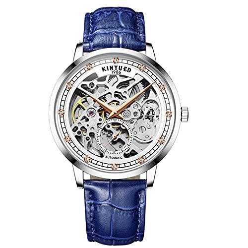 JTTM Relojes Analógicos Automáticos Mecánicos Relojes De Esqueleto Hombres Reloj con Correa De Cuero Azul Relojes De Pulsera Impermeables para Hombres De Negocios Hombres,Azul,Men