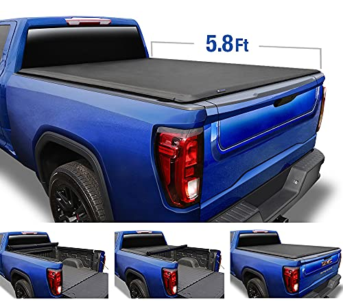 """Tyger Auto T1 Soft Roll Up Truck Bed Tonneau Cover Compatible with 2019-2021 Chevy Silverado/GMC Sierra 1500 New Body Style 