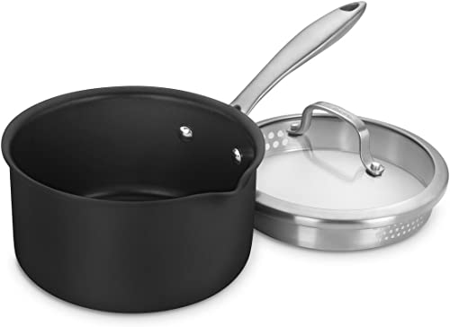 new arrival Cuisinart 2 Qt Pour Saucepan with Straining Cover DS discount Induction Dishwasher Safe Hard discount Anodized Non Stick online sale