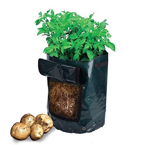 ZUNBO Sac à plantes pour légumes, plantes en pot de pommes de terre, plantes d'intérieur, balcon, jardinière étanche pour pommes de terre, tomates, carottes, oignons, terres (vert)