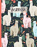 Notebook: Llama Drawing & Floral - Lined Notebook, Diary, Track, Log & Journal - Cute Gift Idea for Boys Girls Teens Men Women (8' x10' 120 Pages)