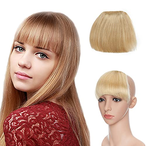 Silk-co 3D Frangia Extension Capelli Veri Clip Frangetta Finta Capelli Umani 23g Human Hair Bang senza Tempie - 24 Biondo Naturale