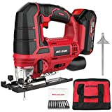 Meterk Jigsaw, 20V Cordless Jig Saw for Woodworking with LED, 4 Orbital,±45°Bevel Angle, Tool-free Blade Changing,10 Blades(Place Inside the Small Pocket of Carrying Bag),Battery&Fast Charger Included
