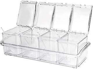 KBNIAN 4PCS Pot à Épices avec Cuillère en Plastique Pots à Épices Transparent Assaisonnement boîte à condiment Box Set Boi...