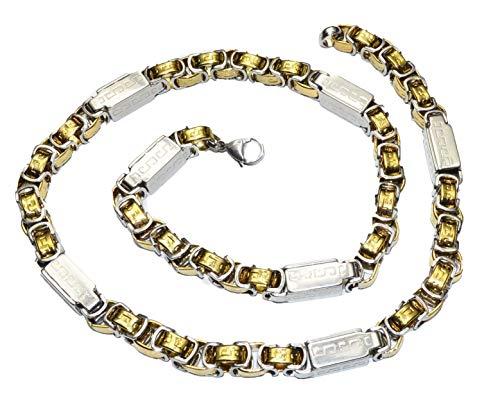 Klobige Halskette im byzantinischen Stil aus Edelstahl für Herren, silber/gold, 56 cm