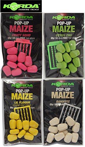 Korda Fake Pop-up Maize (10 Stück), künstlicher Mais, Karpfenköder, Angelköder zum Karpfenangeln, Farbe:gelb