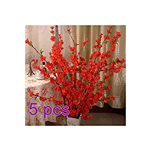 BELUPAID Artificial Spring Peach Blossom Cherry Plum Bouquet Branch Silk Flower, Artificial Fake Flowers for Wedding Home Office Party Hotel Garden Yard Tree Decoration (Red)