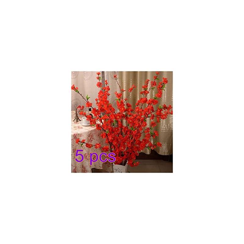 silk flower arrangements belupaid artificial spring peach blossom cherry plum bouquet branch silk flower, artificial fake flowers for wedding home office party hotel garden yard tree decoration (red)