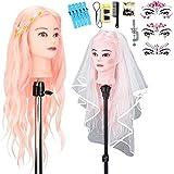 Cabeza de maniquí de peluquería con velo de novia, 50 % de pelo real, cabeza de maniquí con soporte y accesorios de peinado DIY