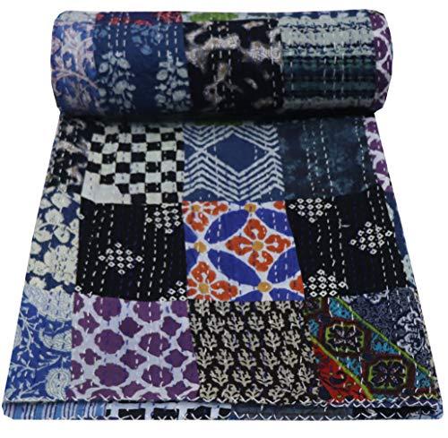 Majisacraft Indische handgemachte Tagesdecke für Doppelbett, 100 prozent Baumwolle, Kantha-Steppdecke, Patchwork-Decke (blaues Patchwork)