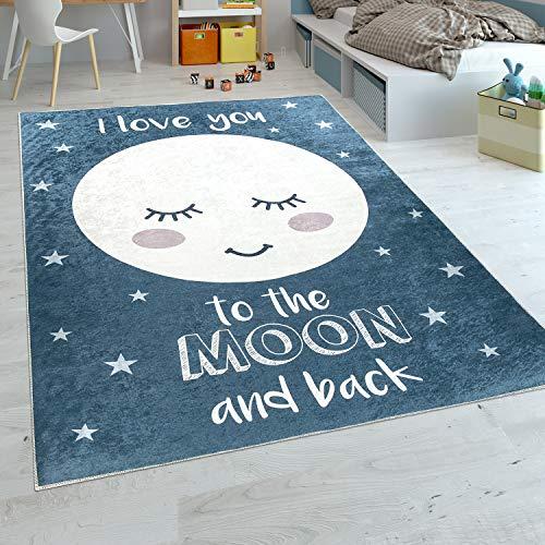 Paco Home Alfombra Habitación Infantil Niña Lavable Estrellas Luna Adorable Frase Azul, tamaño:80x150 cm