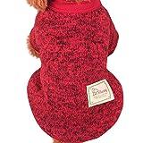 RETUROM Ropa para Mascotas, Ropa de Abrigo suéter de Lana Caliente para Mascotas Cachorro de Perro (Vino Rojo, S)