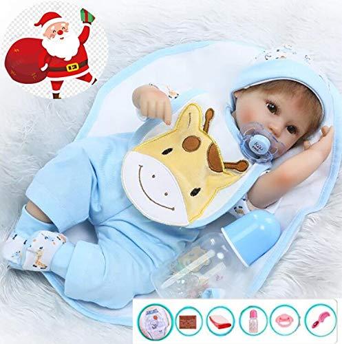 ZIYIUI 17 Pollici 42 cm Bambola Reborn Vinile Morbido in Silicone Regalo di Natale con Vestiti Blu Molto Belli