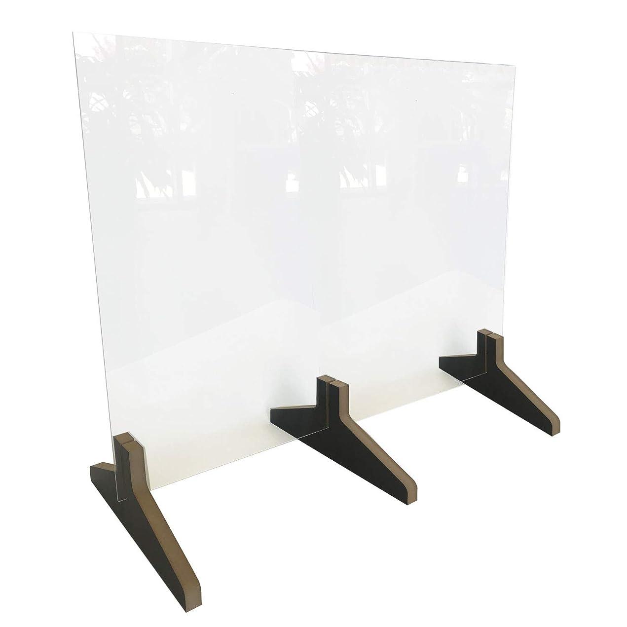 虐殺溶融制限するWaddell カウンタートップ保護プラスチックシールド フレームなし 奥行12インチ 木製ベース 高さ24インチ x 幅30インチ x 奥行き12インチ