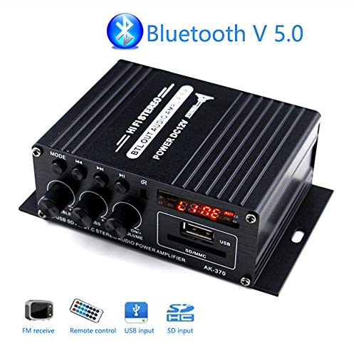 Mochatopia Bluetooth Verstärker Mini, Clearly and Reality Sound, Klass AB 2.0 Channel Audio Hi-Fi Stereo Endstufe mit Bluetooth V5.0 Musik FM Radio SD/USB Empfänger für PC Handy Haus Zimmer TV