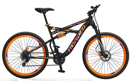 "Baheti Enterprises Hercules Roadeo Hannibal 27.5"" 21 Speed Dual Suspension Dual Disc Brake Sporty Matte Black & Orange Steel Bike/Bicycle For Boys"