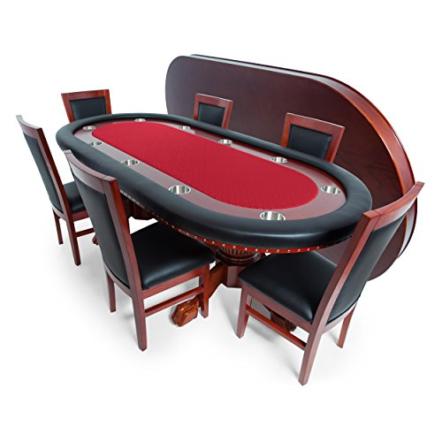 BBO Poker Rockwell Poker Table for 10 Players with Red Speed Cloth Playing Surface, 94 x 44-Inch Oval, Includes Matching Dining Top with 6 Dining Chairs