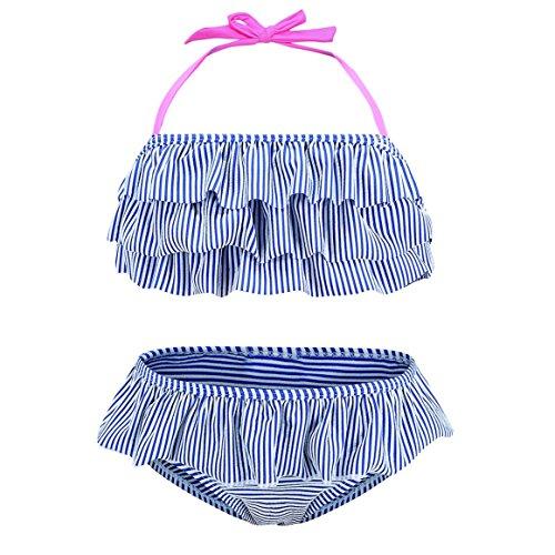 Big Girls Two Piece Bikini Swimsuit Striped Ruffle Swimwear Flounce Bathing Suit Set Size 8/8t Blue