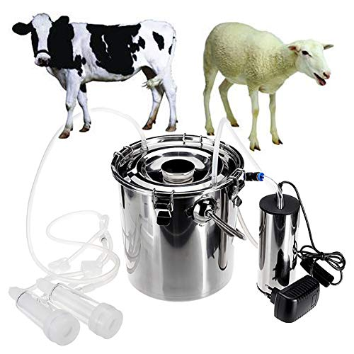 EBDS Melkmaschinen Elektrisch Impulsvakuumpumpe Doppelter Kopf Edelstahleimer für Kühe Schafe EU/US-Stecker 5 L (110-240 V),Forcow