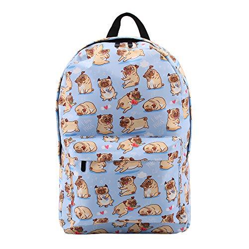 School Backpack, Pug Pattern Travel Laptop College Bookbag Backpack Double-Zipper Closure School Bag for Teen Girl - Water-Resistant