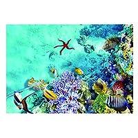 アクアリウム 魚 タンク 背景 ポスター 接着 装飾 グリーン 貼り付け簡単 丈夫 魚 水中世界 全3サイズ - 76×46