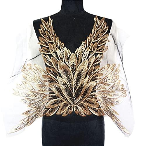 SCDZS Gold Sequins Feuilles Feuilles de Plumes Noir Mesh Dentelle Cougez sur Patchs Broderie pour la décoration de l'applique de Mariage DIY DIY
