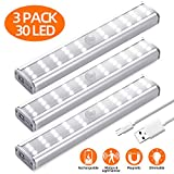 LED Closet Light, 30 LED Rechargeable Motion Sensor Light Indoor, Meromore Under Cabinet Lighting Wireless Stick-Anywhere Night Light with 600mAh Battery for Hallway Stairway Wardrobe Kitchen (3 Pack)