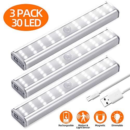 Schrankbeleuchtung mit Bewegungsmelder, Meromore 30er LED Wiederaufladbar Schranklicht, USB Nachtlicht für Küche, Kleiderschrank, Treppe(3 Stück)