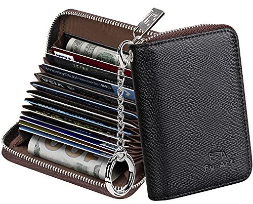 FurArt Porta Carte Credito, Cerniera Portafoglio Carta di Credito,15/16 Slot Blocco RFID Porta Tessere per Donna e Uomo
