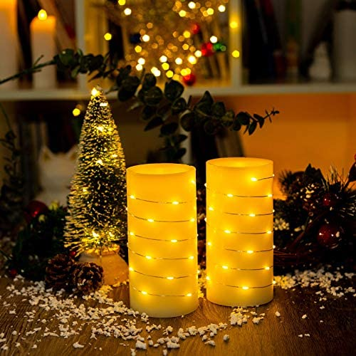 Flameless Candles Battery Operated BeMoment String of White Led Lights Wrapped Around Real Wax product image