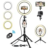 "SYOSIN Ring Light, 10.2"" LED Ring Light with Tripod Stand, 3 Color Modes"