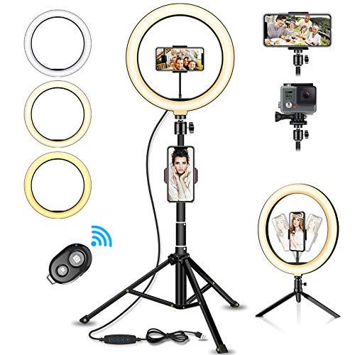 SYOSIN LED Ringlicht Stativ mit Fernbedienung, 10.2' Selfie Ringleuchte Doppel-Handyhalter mit 3 Farbe und 11 Helligkeitsstufen für YouTube TikTok...