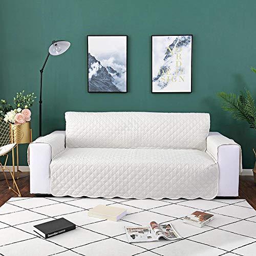 Funda de sofá antiincrustante,Funda de sofá antideslizante, alfombrilla para perros y niños, funda de sofá reversible elástica elástica, fundas para reposabrazos, protector de muebles, color blan