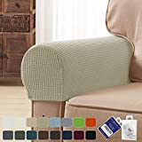 subrtex Spandex Stretch Fabric Armrest Covers Anti-Slip Furniture Protector Armchair Slipcovers for Recliner Sofa Set of 2 with Free Fixing Tools Twist Pins (Sand), Two Pieces