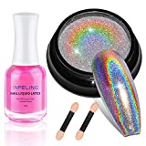 Chrome Nail Powder - Holographic Nail Powder with 18ml Liquid Latex for Nails, Holo Nail Powder by INFELING, Rainbow Unicorn Mirror Effect, Multi Chrome Manicure Pigment Nail Art DIY Deco with Sponge